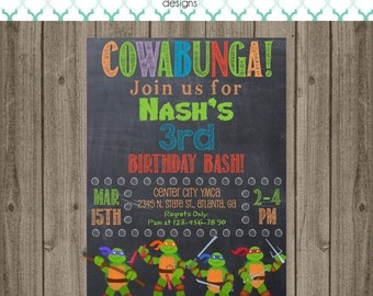 Ninja Turtle Invitation - Ninja Turtle Birthday Party