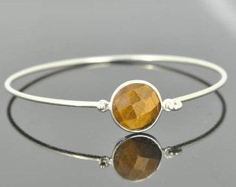 Tigers eye bangle, Gemstone Bangle, gemstone Jewelry, gemstone Bracelet, Sterling Silver Bangle, Sterling Silver Bracelet