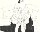 Original ink drawing MOTHER AND BABIES // breast feeding // modern artwork by Elisaveta Sivas 5,9 x 7,9'