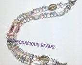 "Handmade Double BRACELET 7.5"" Muted Pastel Faceted ART GLASS Beads  Toggle Clasp"