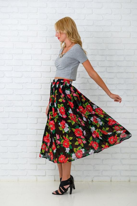 Vintage 80s Black Skirt Retro High Waist Red Floral Print Full Midi Medium S 3491