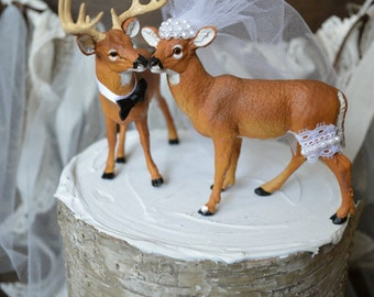 Buck and doe-wedding-cake topper-bride-groom-deer-hunter-camouflage-Mr. and Mrs.-custom-deer lover-rustic-woodland-western-hunter