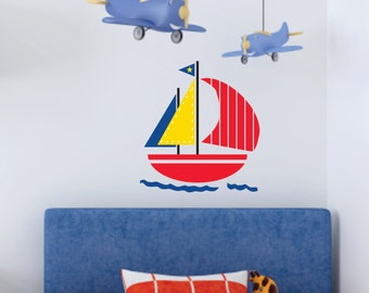Sail Boat Decor - Small Decal - Boat Wall Decal - Childrens Wall Decal -  Sail Boat Wall Art - Wall Decal
