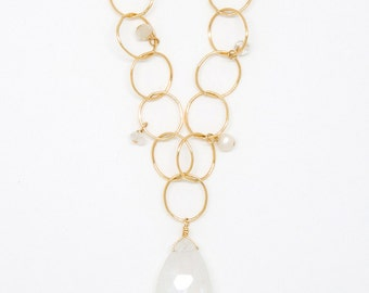 6936 - moonstone and semiprecious bubble necklace