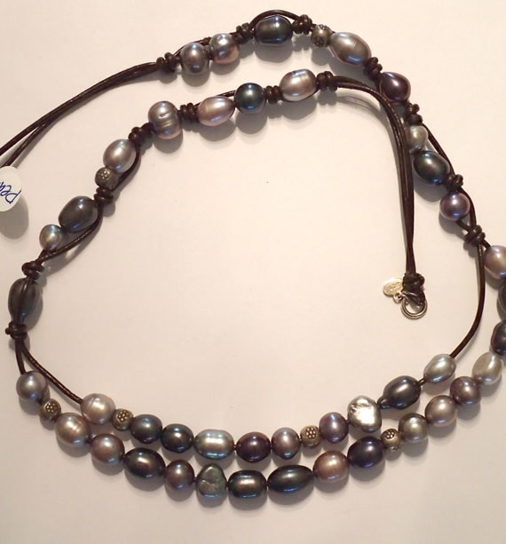 Tahitian Pearl And Leather Necklace: Tahitian Style Pearls On Leather Necklace With Sterling. GOOD