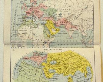 Vintage Ancient World Maps Print, antique lithograph