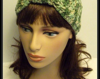 Boho Turban Knot Crochet Headband - Variegated greens - Ready to ship!!