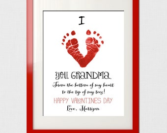 Valentine's Day Gift - Valentines Day Gift - Valentines Day - Footprint Gift - Baby's first Valentine's Day Printable - Grandparents Gift