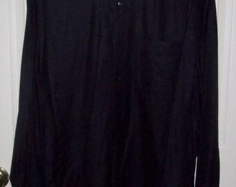 "Vintage Men's Black Dress Shirt w/ French Cuffs by Bachrach 15 1/2"" Neck Only 5 USD"