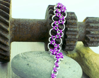 Violet Bubbles Chainmaille Bracelet - Ready To Ship - Fast Shipping