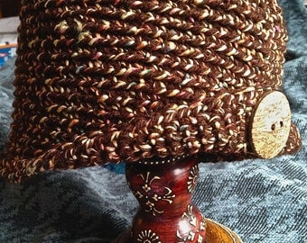 Brown tweed cloche, Downton Abbey style, brown tweed beanie, with flecks of bright colors and coconut button fastening brim