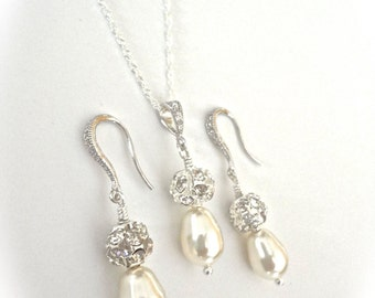 Bridal jewelry - Pearl necklace and Earrings set - Sterling Silver - Crystal rhinestones -  fireballs  -  Bridesmaids - Formal Jewelry