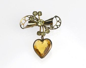 Vintage Bow Dangle Heart Brooch Amber Yellow Crystal Rhinestones Pin