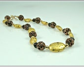 Gold Necklace, 23 - Karat Gold on Stone and Czech Lamp Work Glass Beads in Copper Glaze Necklace, 20""