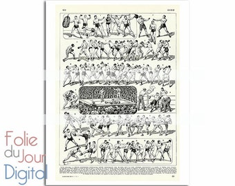 """Boxing combat sport old illustration Digital file colored French dictionary plate - 8.5 x 11"""" - Instant Download"""