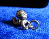 Sterling Happy Baby, Crawler, Pendant or Charm in Silver, Cute Face, Over 3 Grams