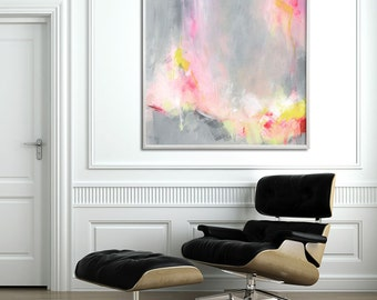 """Abstract PRINT of acrylic painting """"Hooponopono 02"""", delicate Abstract Art, large wall art in grey and yellow with pink"""