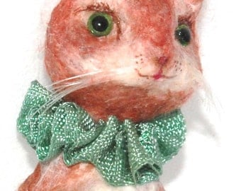 Cat with a green ball spun cotton ornament OOAK vintage craft by jejeMae