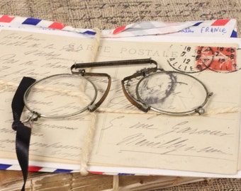 Antique French Eyeglasses Spectacles Eyewear Steampunk - FREE DOMESTIC SHIPPING