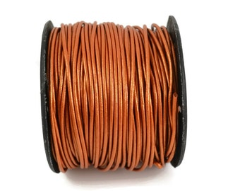 1.5mm Metallic Bronze Leather Round Cord - Your Choice of Length From Available Options