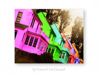 "Neon Art, Pop Art, Landscape Photography, Abstract Landscape, Modern Art, Bright Colors, Giclee Print, 8 x 10 ""Neon Row"""