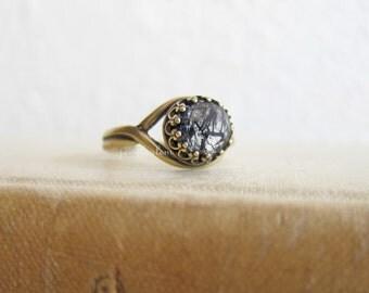 Rutilated Quartz Ring, Gothic Jewelry, Steampunk Style, Gemstone Birthstone Jewellery Gift, Wild Forest Round Moon Ring