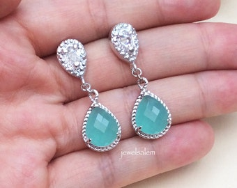 Turquoise Earrings Sterling Silver Dangling Earrings for Bride Mint Blue Wedding Bridal Jewelry Bridesmaid Earring Gift Elegant Romantic
