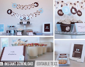 Cookies and Milk Party Pack - Brown and Blue - INSTANT DOWNLOAD - Printable PDF with Editable Text