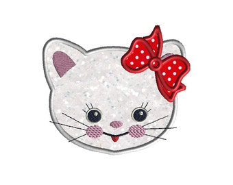 Kitty Applique Machine Embroidery Design-INSTANT DOWNLOAD