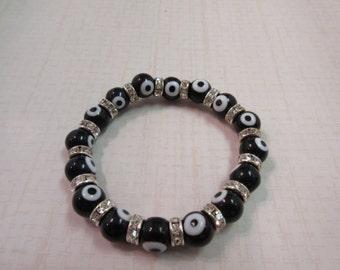 Brillant black evil eye bracelet.