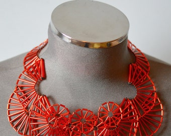 Red Art Deco inspired beaded theatrical fantasy Necklace:  ready to ship one off piece
