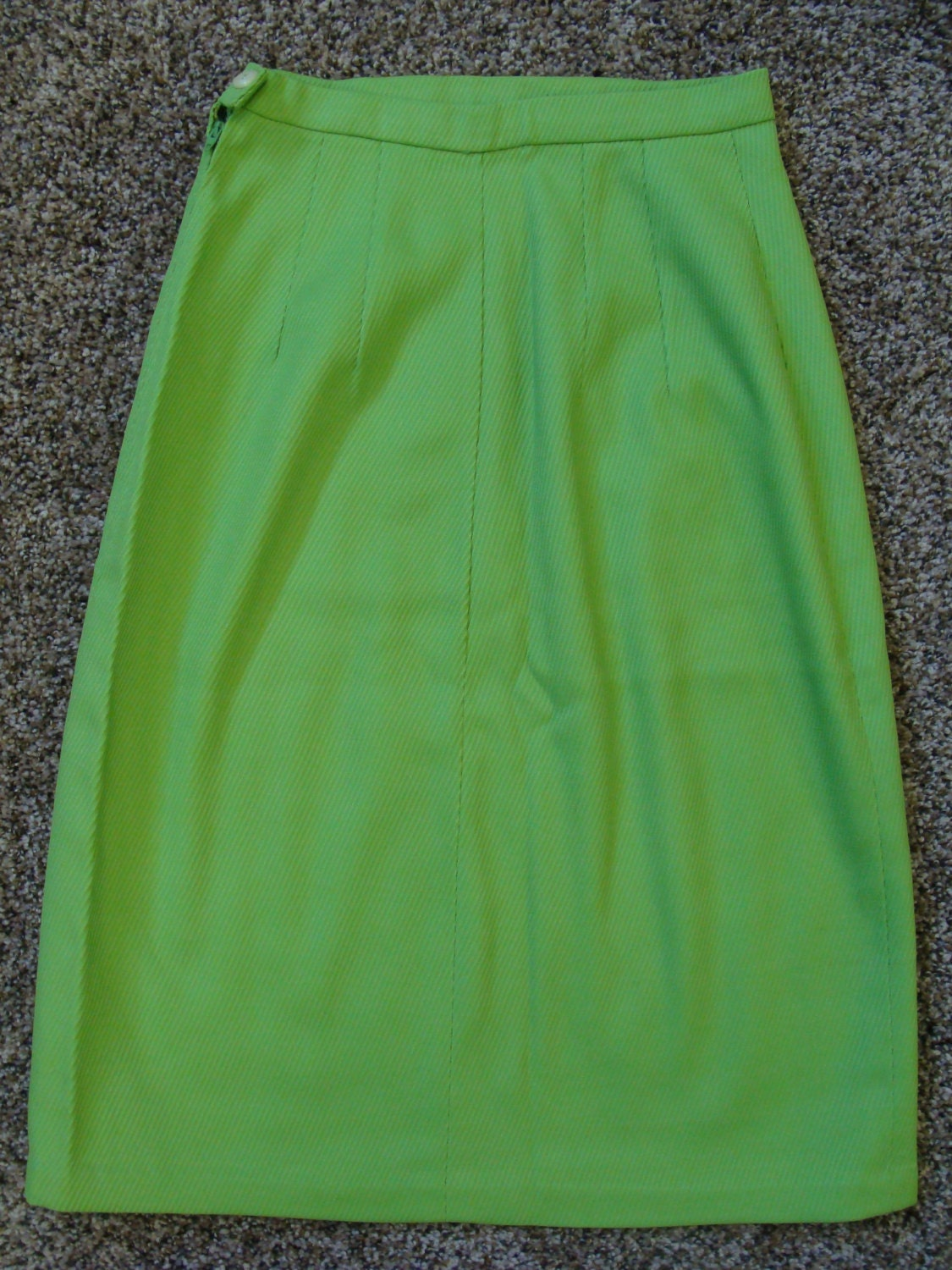 high waisted lime green pencil skirt 1960 s xs