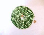 vintage glass bead garland, green garland,  88 inches, vintage Christmas decor