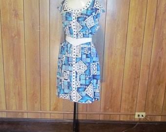 On Sale-Blue & White Abstract Hawaiian Dress