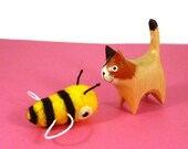 Bumblebee Bee Catnip Cat Toy - Needle Felted Wool