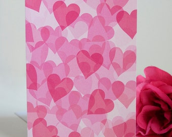 Valentine's Day Card - Single Card - Many Hearts