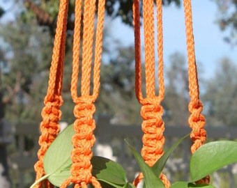 CROWNE ROYALE - Neon Orange Handmade Macrame Plant Hanger Holder with Wood Beads - 6mm Braided Poly Cord in CORAL