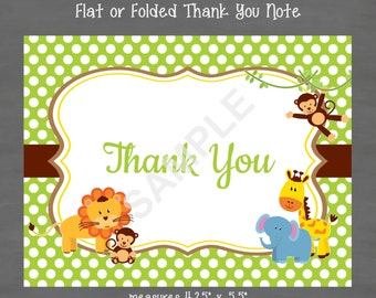 Jungle Baby Shower Thank You Note Gender Neutral--Custom Printable
