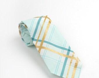 Mens Necktie, mint plaid tie, mint and gold tie, mint groom's tie, mint plaid necktie, men's mint tie, green plaid tie, blue and mint tie