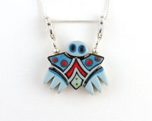 Miniature Maryland Blue Crab Necklace Mini Blue Crab Pendant Handmade Ceramic By Sean Brown