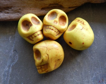 18X17mm Yellow Synthetic Howlite Skull Beads, 4 PC (INDOC188)