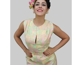 1950s Fashion / 50s Dress / 1950s Day Dress / Shift Dress / Sherbet Dress /  Rockabilly / Pin up Clothing / Viva Las Vegas