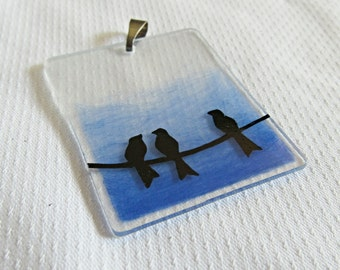 Bird On A Wire - Blue Necklace - Bird Jewelry - Bird Necklace - Handmade Jewelry - Simple Necklace - Gift For Her - Shrink Plastic Pendant