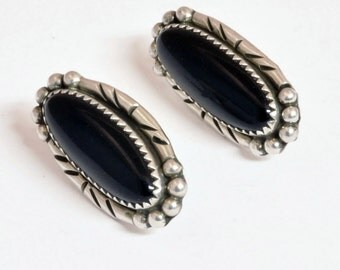 Vintage Sterling Silver Earrings With Onyx - Native American Jewelry -  C1970 - Oval Black Earrings 925 Silver - Pierced Style