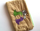 CLEARANCE: Valentine Dinos I Love You Dis Much, Embroidered Zipper Pouch, Pen Pouch, Cord Organizer