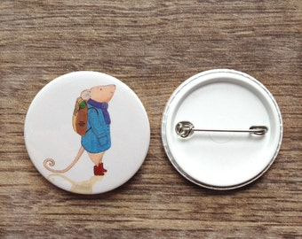 Mouse Badge, pin, button badge, animal badge, gifts for kids, children, mice, gift, cute, adornment, gifts for animal lovers, adventure