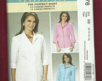 McCalls 6076 Fitted Shirts with Princess Seams Palmer Pletsch  Size 8 to 14 UNCUT