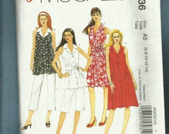 McCalls 5636 Flared Notched Collar Shirt Dress Tunic & Top Capri Pants Too Size 6 to 14 UNCUT