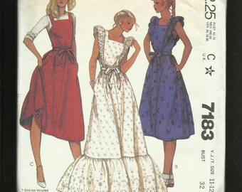 Vintage 1980's McCalls 7183 Pinafore Style Prairie Dresses with Ruffled Shoulders & Tier Size 11..12 UNCUT