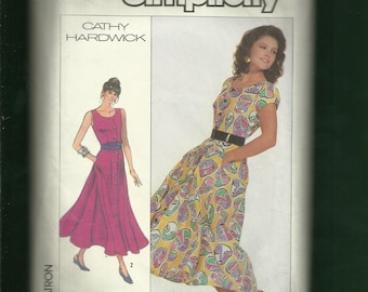 Vintage 1980's Simplicity 7996 Designer Cathy Hardwick Ultra Flared Front Button Sun Dress Size 8 to 14